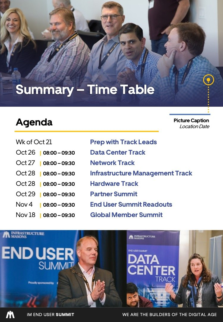 Infrastructure Masons End User Summit brochure Firebrand Design & Business Solutions in Safety Harbor, FL