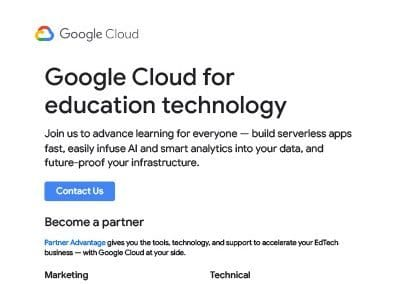 Google Cloud for Education Technology One Sheeter